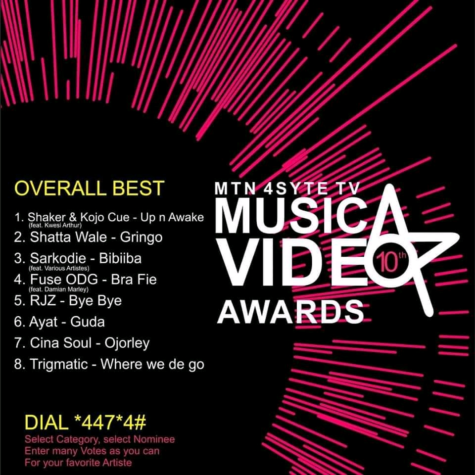 The Golden Plague edition of MTN 4sytetv Music Video Awards, the entire list of nominees.