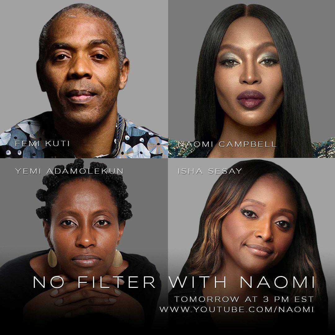 Naomi Campbell In Endsars Conversation With Femi Kuti, Isha Sesay, Yemi Adamolekun On 'No Filter With Naomi'.