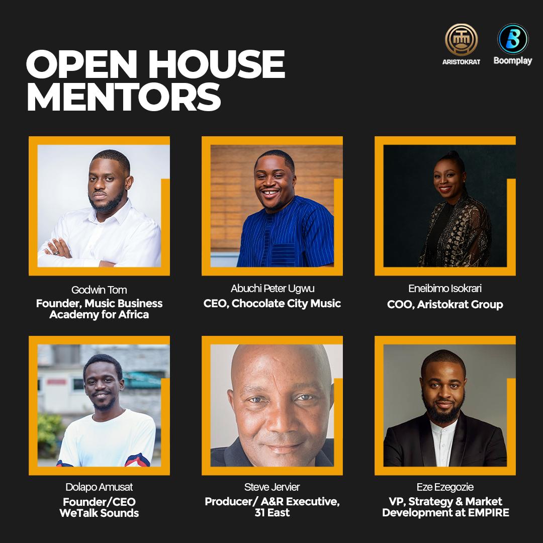Aristokrat, Boomplay Unveil Piriye Isokrari, Temi Adeniji, Tosi Sorinola, Godwin Tom, As Mentors For Its Premiere Open House Series